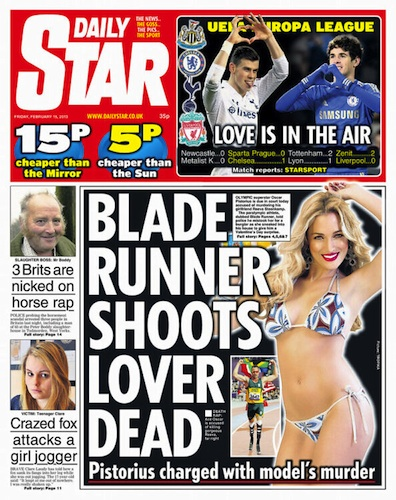 Front page, Daily Star, 15th February
