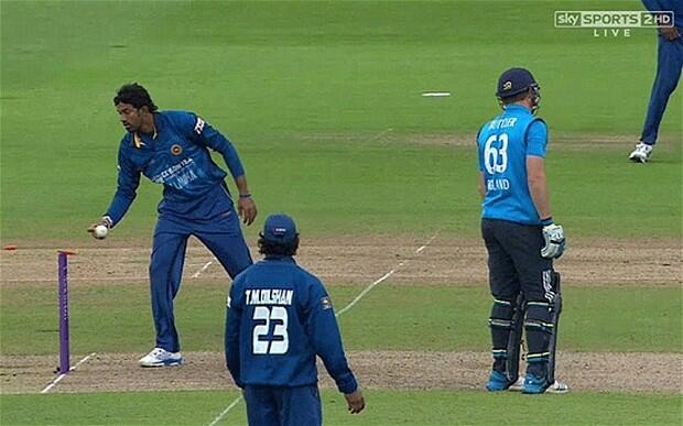 Jos Buttler is run out during the 5th ODI against Sri Lanka on 3rd June 2014