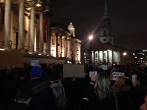 Charlie Hebdo Vigil in Trafalgar Square 2015-01-07