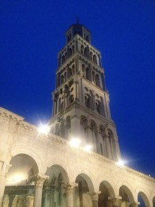 A view of Diocletian's Palace, Split, at night